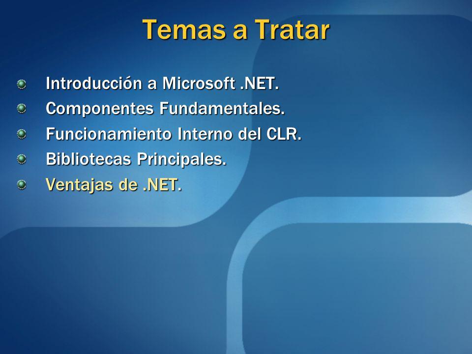 Temas a Tratar Introducción a Microsoft.NET. Componentes Fundamentales. Funcionamiento Interno del CLR. Bibliotecas Principales. Ventajas de.NET.