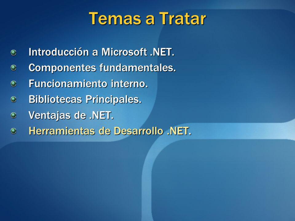 Temas a Tratar Introducción a Microsoft.NET. Componentes fundamentales. Funcionamiento interno. Bibliotecas Principales. Ventajas de.NET. Herramientas