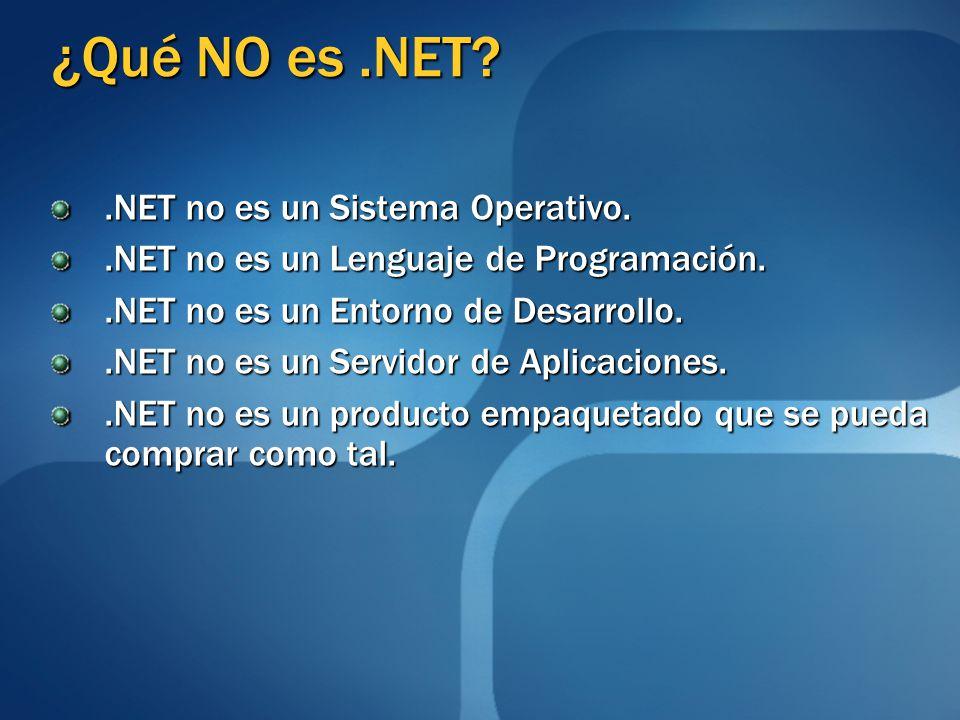 ¿Qué NO es.NET?.NET no es un Sistema Operativo..NET no es un Lenguaje de Programación..NET no es un Entorno de Desarrollo..NET no es un Servidor de Ap