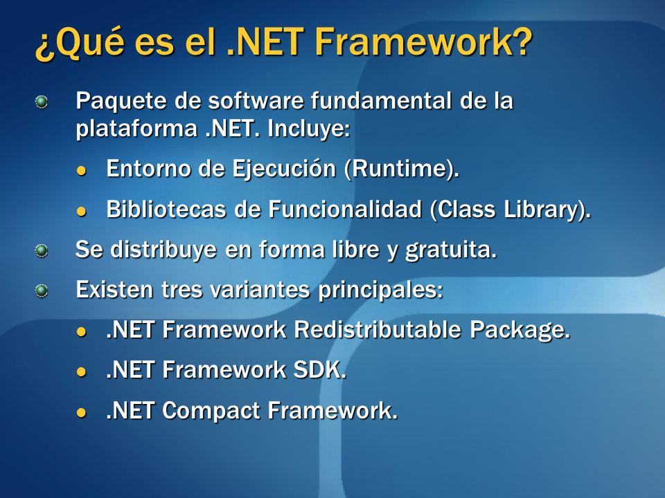 ¿Qué es el.NET Framework? Paquete de software fundamental de la plataforma.NET. Incluye: Entorno de Ejecución (Runtime). Entorno de Ejecución (Runtime
