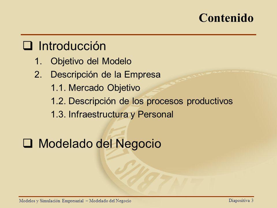 Diapositiva 3 Contenido Introducción 1.Objetivo del Modelo 2.Descripción de la Empresa 1.1. Mercado Objetivo 1.2. Descripción de los procesos producti