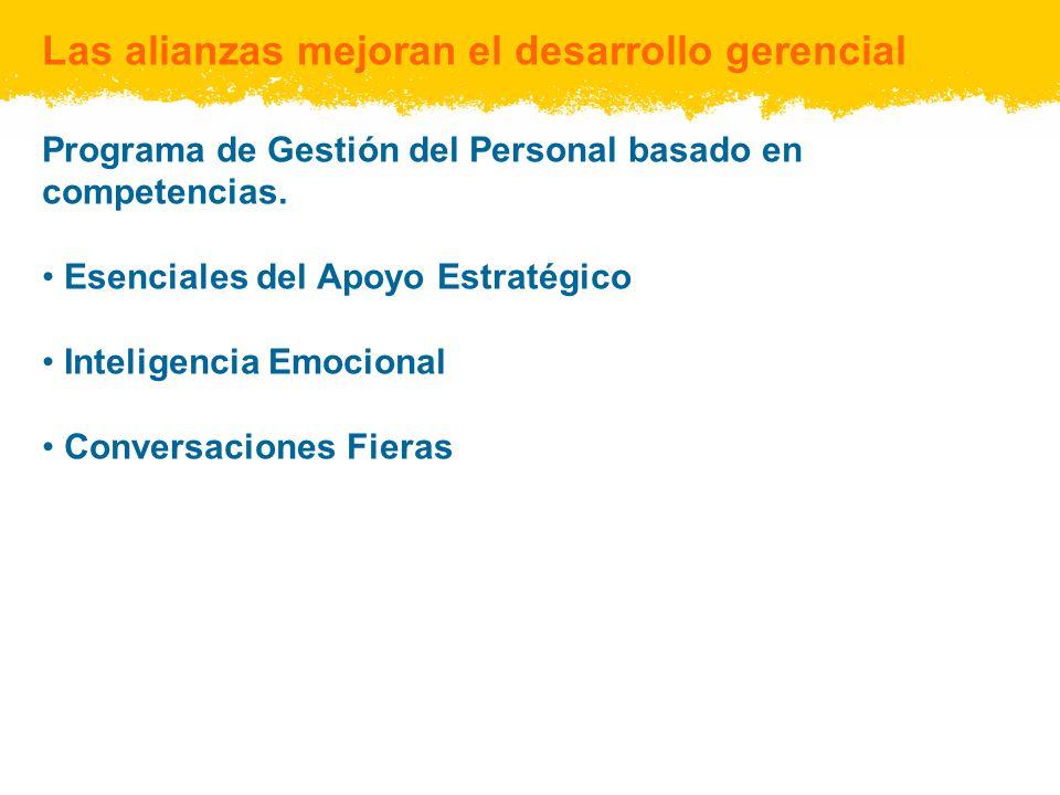Las alianzas mejoran el desarrollo gerencial Programa de Gestión del Personal basado en competencias.