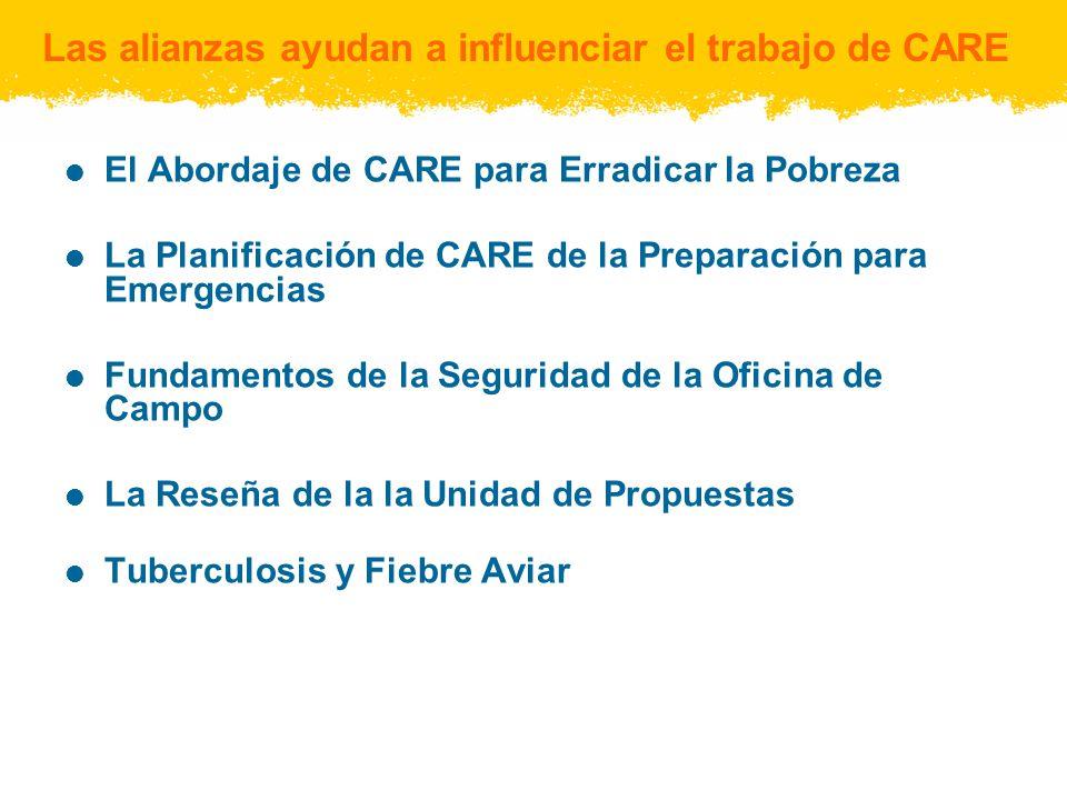 Las alianzas ayudan a influenciar el trabajo de CARE El Abordaje de CARE para Erradicar la Pobreza La Planificación de CARE de la Preparación para Emergencias Fundamentos de la Seguridad de la Oficina de Campo La Reseña de la la Unidad de Propuestas Tuberculosis y Fiebre Aviar