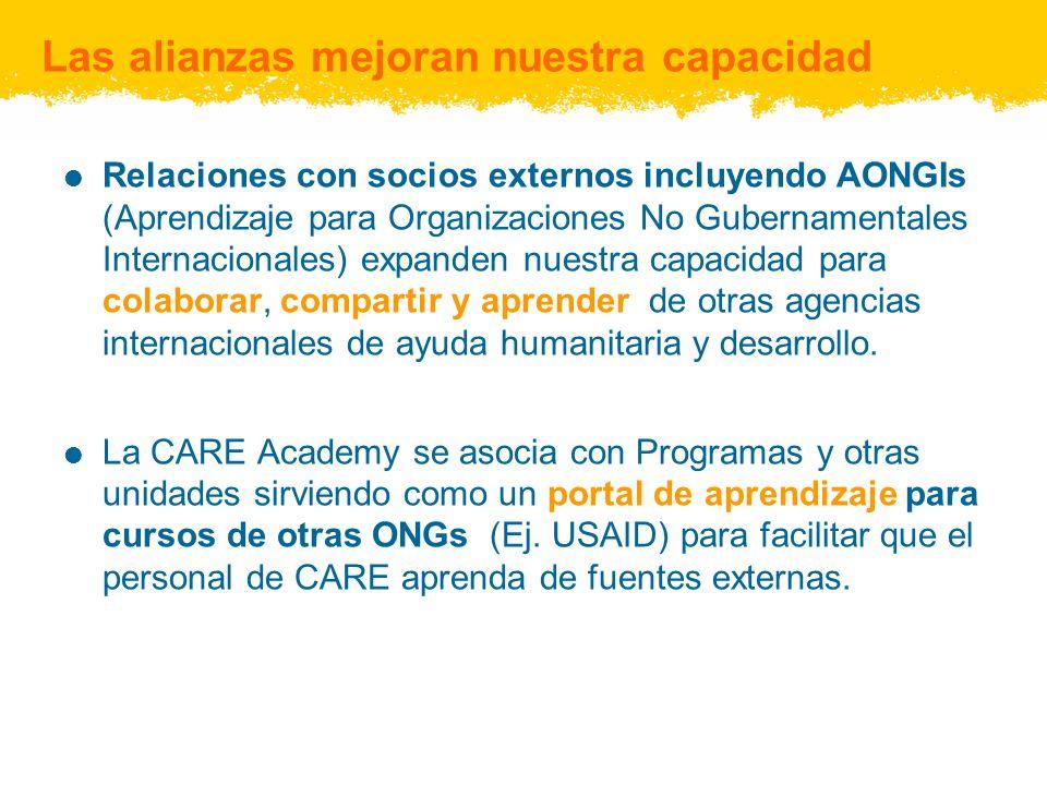 Las alianzas mejoran nuestra capacidad Relaciones con socios externos incluyendo AONGIs (Aprendizaje para Organizaciones No Gubernamentales Internacio
