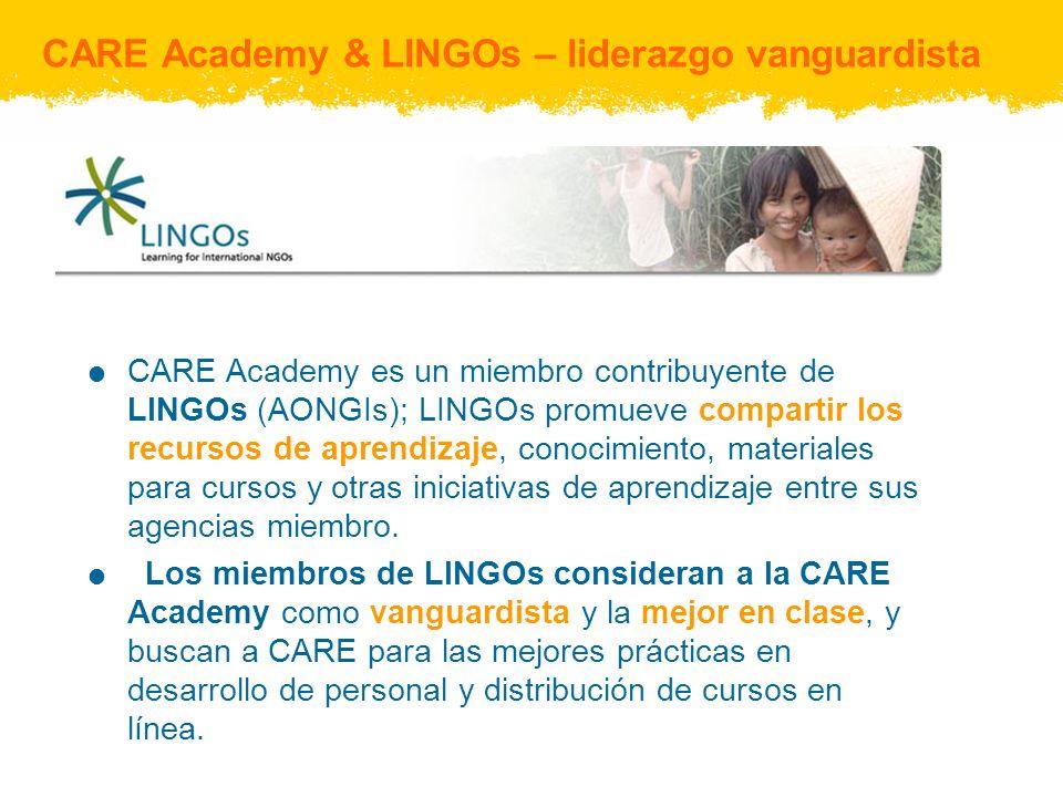 CARE Academy & LINGOs – liderazgo vanguardista CARE Academy es un miembro contribuyente de LINGOs (AONGIs); LINGOs promueve compartir los recursos de aprendizaje, conocimiento, materiales para cursos y otras iniciativas de aprendizaje entre sus agencias miembro.