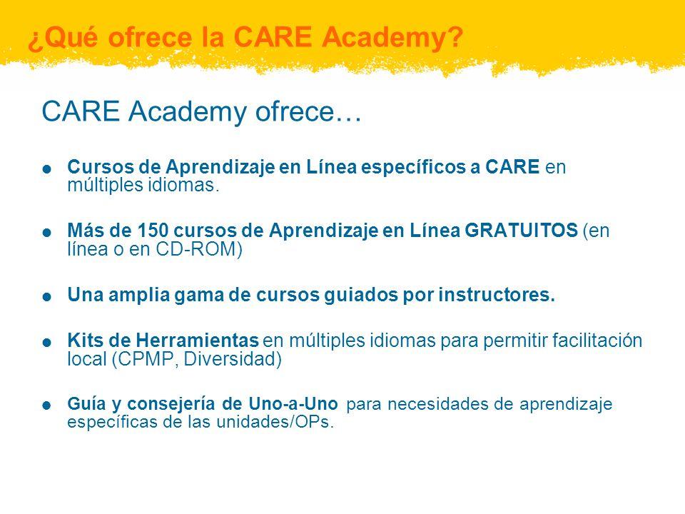 ¿Qué ofrece la CARE Academy? CARE Academy ofrece… Cursos de Aprendizaje en Línea específicos a CARE en múltiples idiomas. Más de 150 cursos de Aprendi