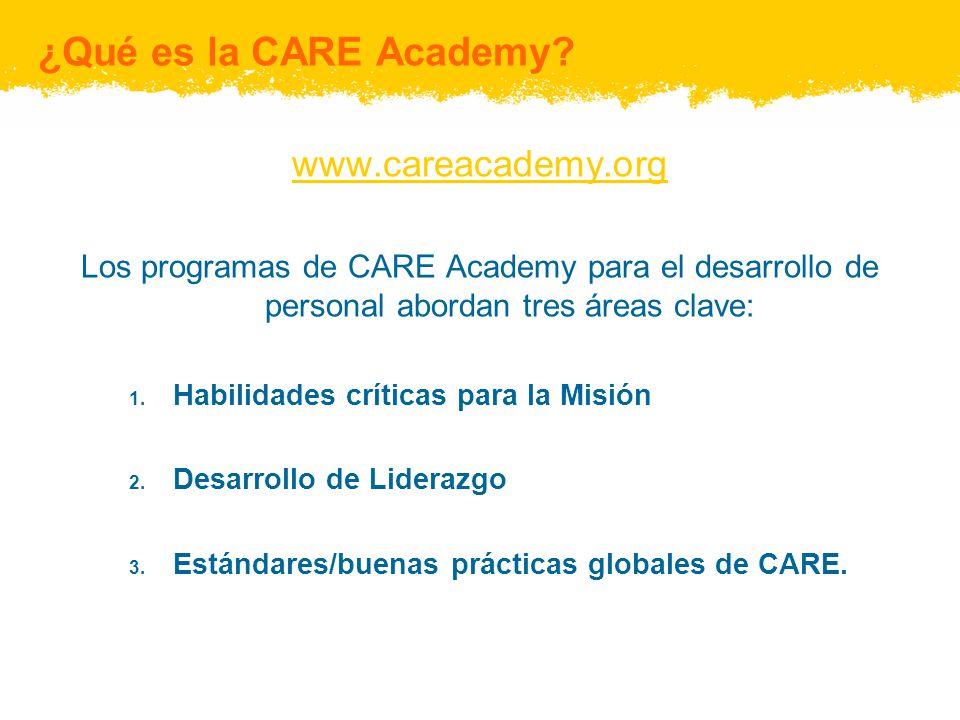 ¿Qué es la CARE Academy? www.careacademy.org Los programas de CARE Academy para el desarrollo de personal abordan tres áreas clave: 1. Habilidades crí