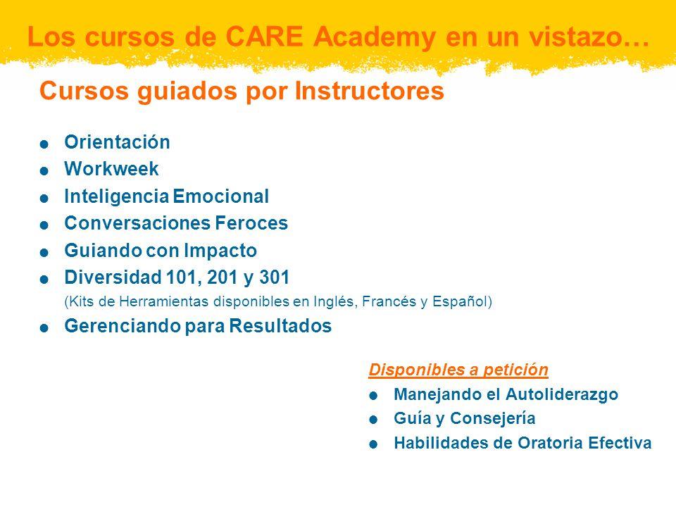 Los cursos de CARE Academy en un vistazo… Cursos guiados por Instructores Orientación Workweek Inteligencia Emocional Conversaciones Feroces Guiando c