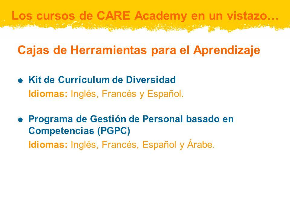 Cajas de Herramientas para el Aprendizaje Kit de Currículum de Diversidad Idiomas: Inglés, Francés y Español. Programa de Gestión de Personal basado e
