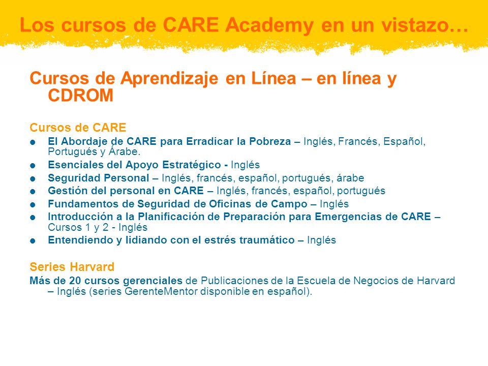 Cursos de Aprendizaje en Línea – en línea y CDROM Cursos de CARE El Abordaje de CARE para Erradicar la Pobreza – Inglés, Francés, Español, Portugués y