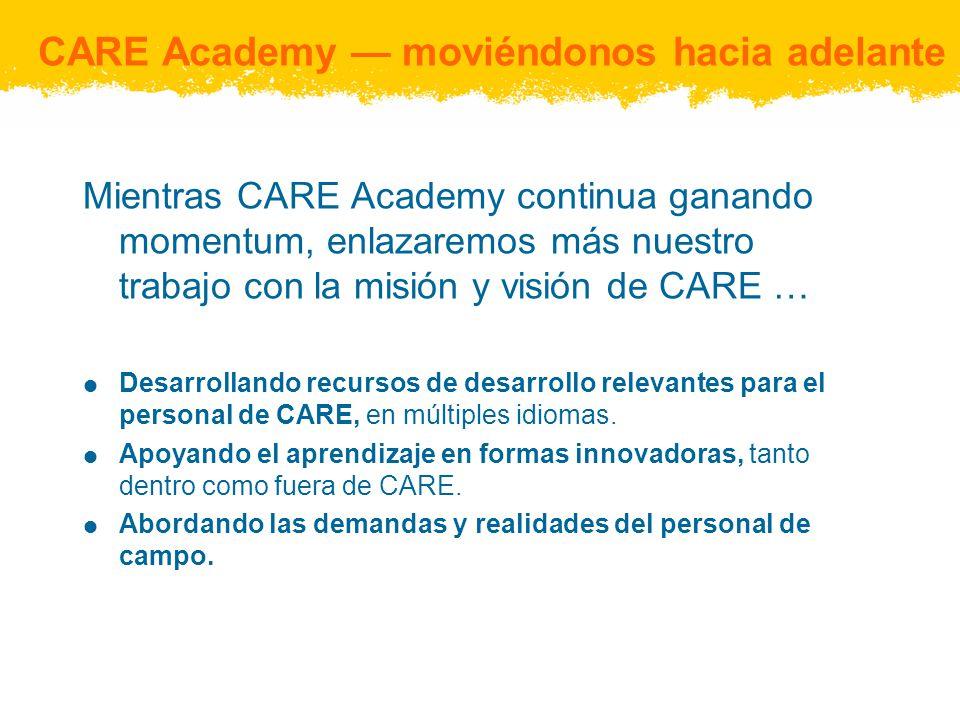 CARE Academy moviéndonos hacia adelante Mientras CARE Academy continua ganando momentum, enlazaremos más nuestro trabajo con la misión y visión de CARE … Desarrollando recursos de desarrollo relevantes para el personal de CARE, en múltiples idiomas.