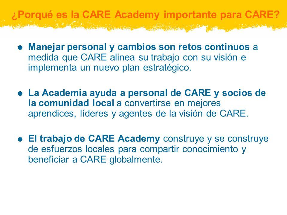 Población global de aprendizaje de CARE Academy CARE Academy sirve a aproximadamente 13,000 miembros del personal en más de 60 países, además de socios de las comunidades locales:
