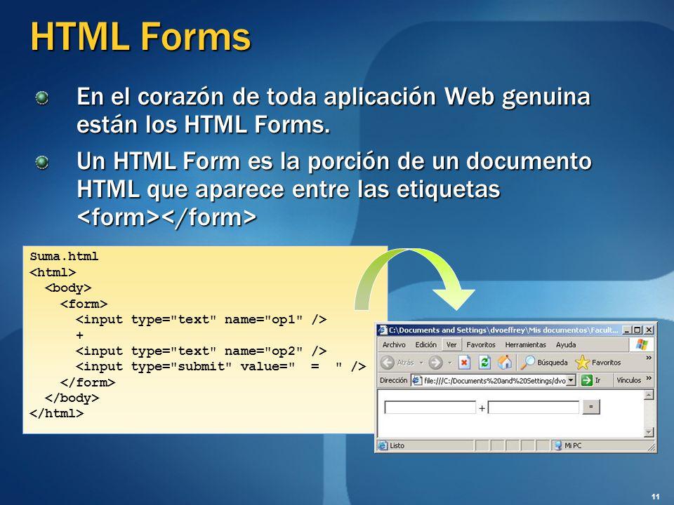 HTML Forms En el corazón de toda aplicación Web genuina están los HTML Forms. Un HTML Form es la porción de un documento HTML que aparece entre las et