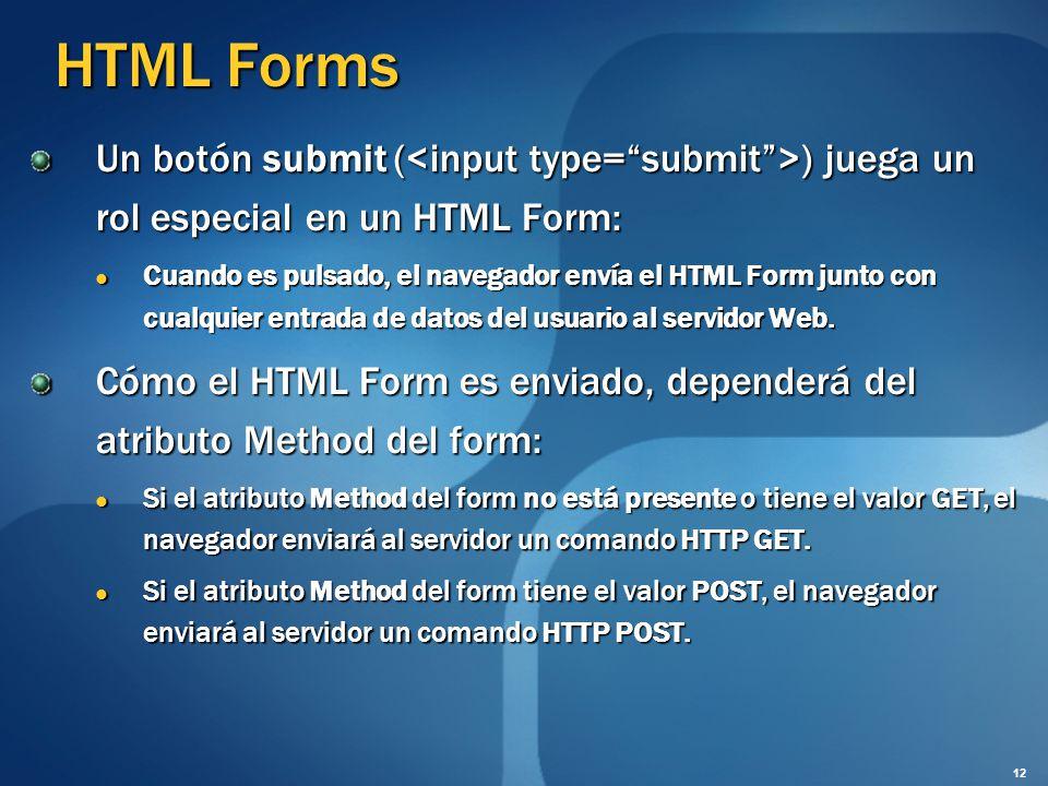 HTML Forms Un botón submit ( ) juega un rol especial en un HTML Form: Cuando es pulsado, el navegador envía el HTML Form junto con cualquier entrada d