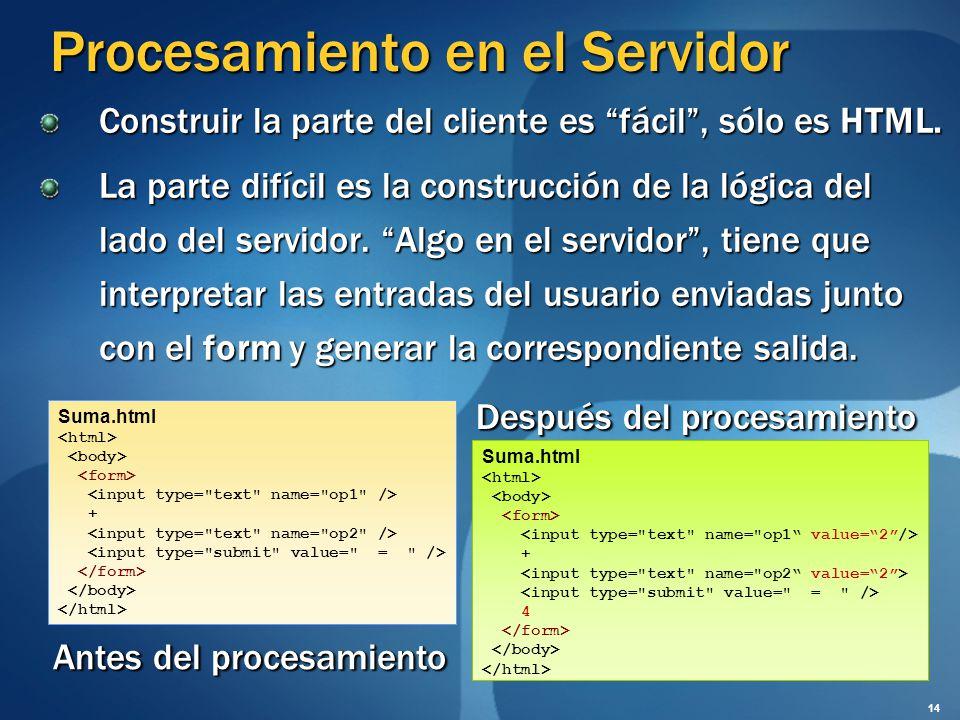 Procesamiento en el Servidor Construir la parte del cliente es fácil, sólo es HTML. La parte difícil es la construcción de la lógica del lado del serv