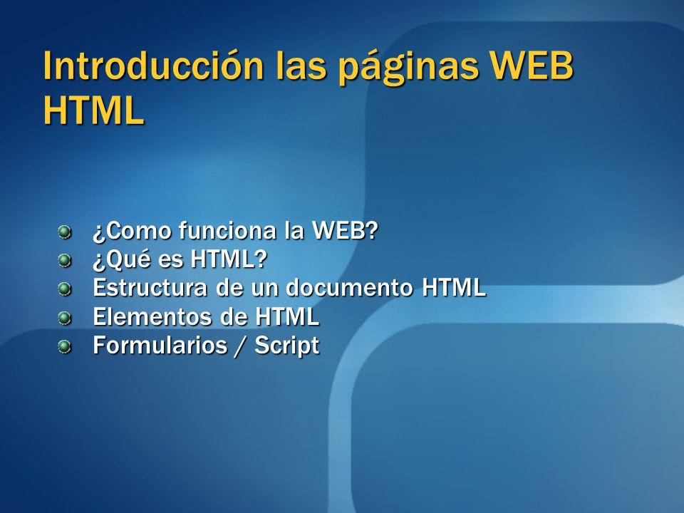 Introducción las páginas WEB HTML ¿Como funciona la WEB? ¿Como funciona la WEB? ¿Qué es HTML? ¿Qué es HTML? Estructura de un documento HTML Estructura