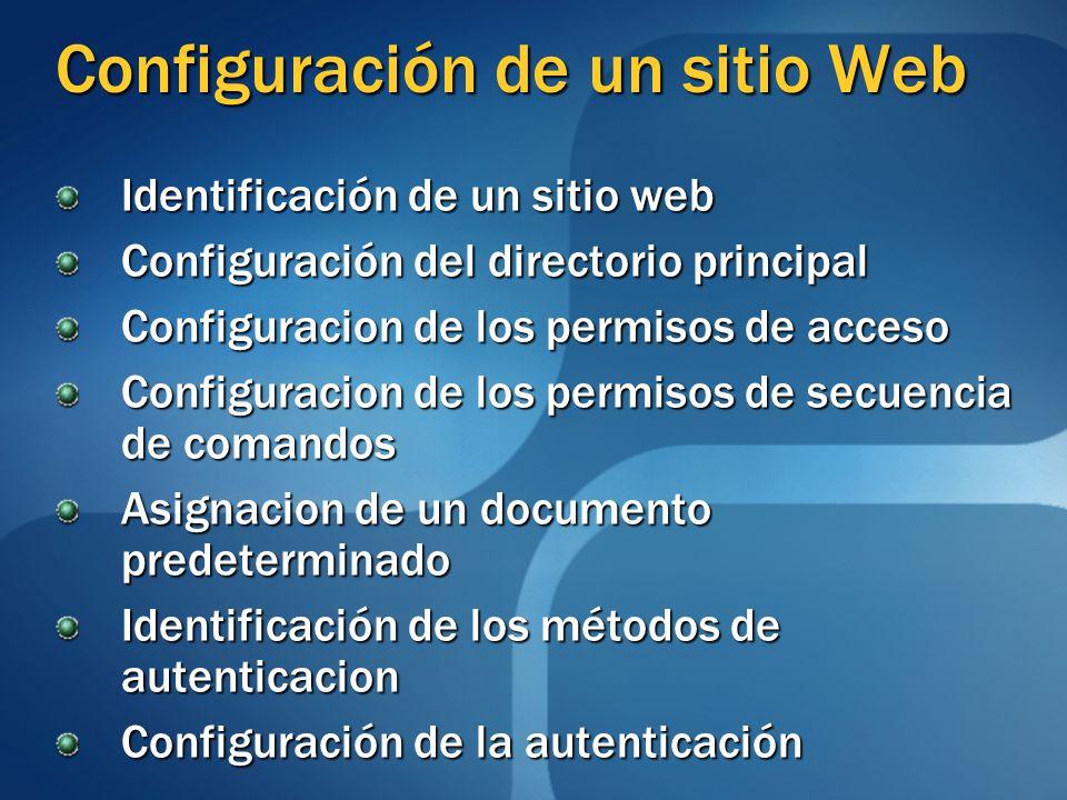 Configuración de un sitio Web Identificación de un sitio web Configuración del directorio principal Configuracion de los permisos de acceso Configuracion de los permisos de secuencia de comandos Asignacion de un documento predeterminado Identificación de los métodos de autenticacion Configuración de la autenticación