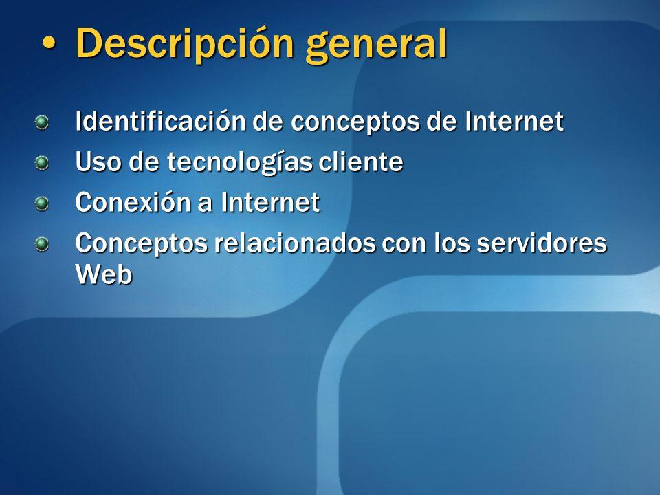 Descripción general Descripción general Identificación de conceptos de Internet Uso de tecnologías cliente Conexión a Internet Conceptos relacionados con los servidores Web