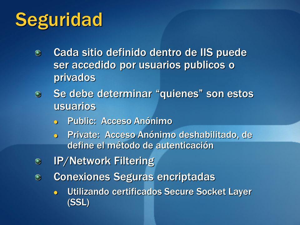 Seguridad Cada sitio definido dentro de IIS puede ser accedido por usuarios publicos o privados Se debe determinar quienes son estos usuarios Public: Acceso Anónimo Public: Acceso Anónimo Private: Acceso Anónimo deshabilitado, de define el método de autenticación Private: Acceso Anónimo deshabilitado, de define el método de autenticación IP/Network Filtering Conexiones Seguras encriptadas Utilizando certificados Secure Socket Layer (SSL) Utilizando certificados Secure Socket Layer (SSL)