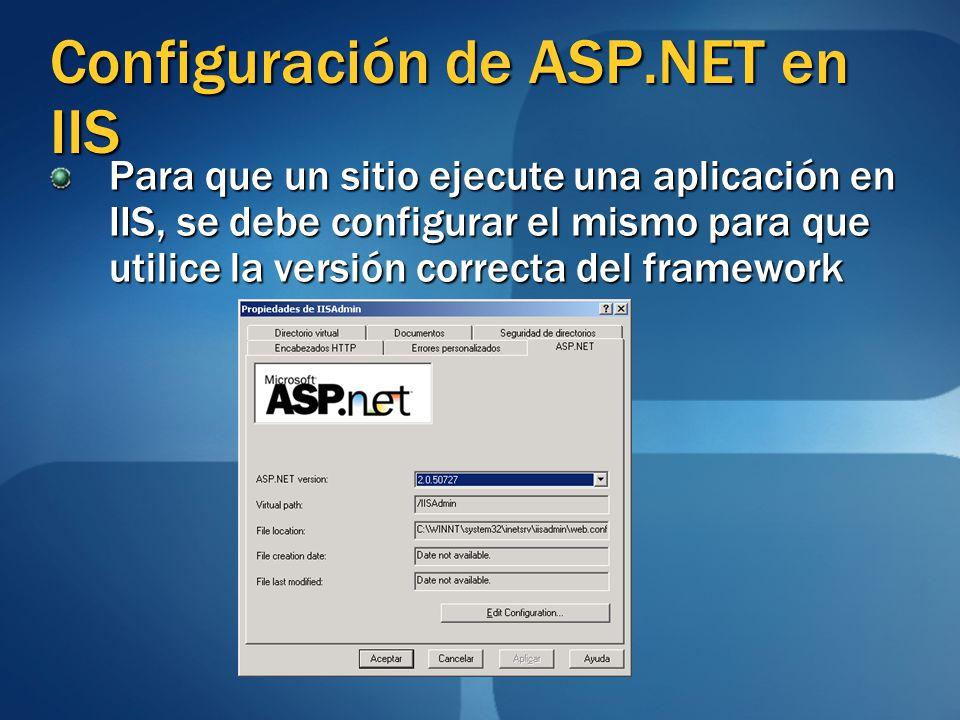 Configuración de ASP.NET en IIS Para que un sitio ejecute una aplicación en IIS, se debe configurar el mismo para que utilice la versión correcta del framework