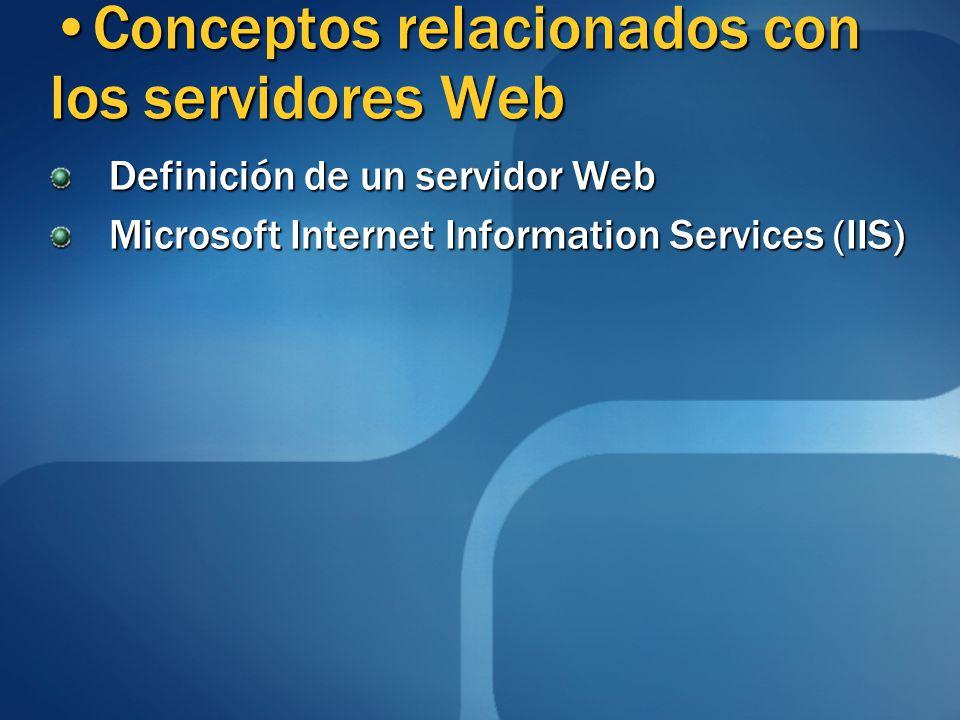 Definición de un servidor Web Microsoft Internet Information Services (IIS) Conceptos relacionados con los servidores WebConceptos relacionados con los servidores Web