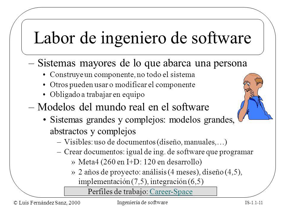 © Luis Fernández Sanz, 2000 IS-1.1-11 Ingeniería de software Labor de ingeniero de software –Sistemas mayores de lo que abarca una persona Construye u