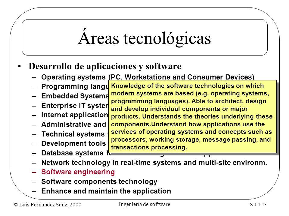 © Luis Fernández Sanz, 2000 IS-1.1-13 Ingeniería de software Áreas tecnológicas Desarrollo de aplicaciones y software –Operating systems (PC, Workstat