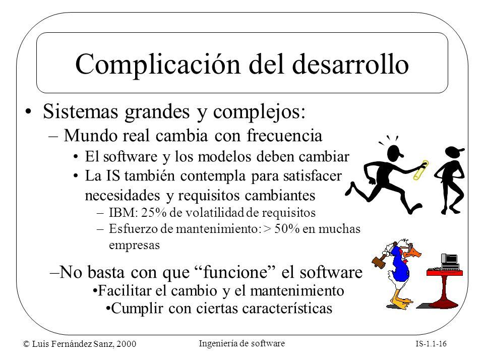 © Luis Fernández Sanz, 2000 IS-1.1-16 Ingeniería de software Complicación del desarrollo Sistemas grandes y complejos: –Mundo real cambia con frecuenc