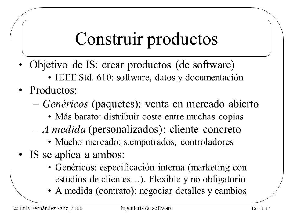 © Luis Fernández Sanz, 2000 IS-1.1-17 Ingeniería de software Construir productos Objetivo de IS: crear productos (de software) IEEE Std. 610: software