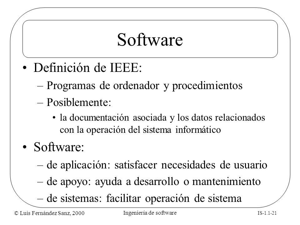 © Luis Fernández Sanz, 2000 IS-1.1-21 Ingeniería de software Software Definición de IEEE: –Programas de ordenador y procedimientos –Posiblemente: la d