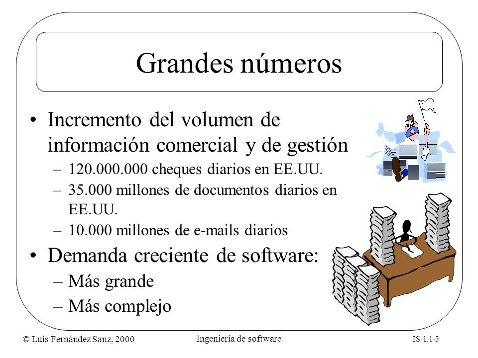 © Luis Fernández Sanz, 2000 IS-1.1-3 Ingeniería de software Grandes números Incremento del volumen de información comercial y de gestión –120.000.000