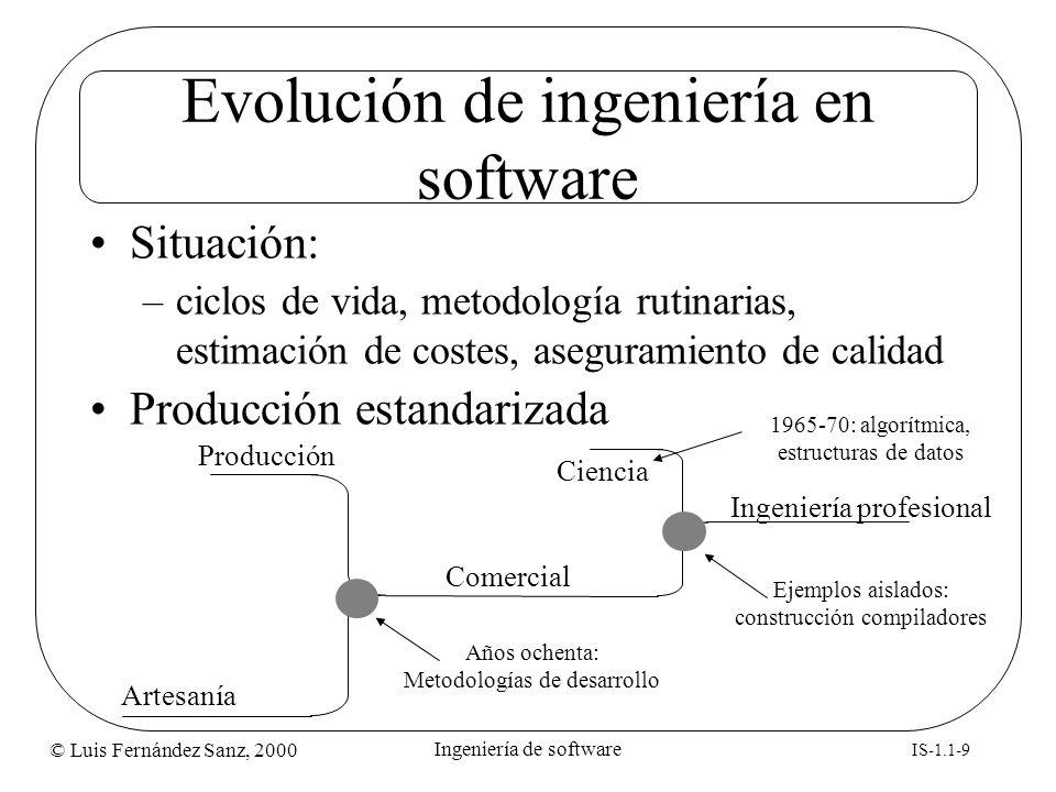 © Luis Fernández Sanz, 2000 IS-1.1-9 Ingeniería de software Evolución de ingeniería en software Situación: –ciclos de vida, metodología rutinarias, es