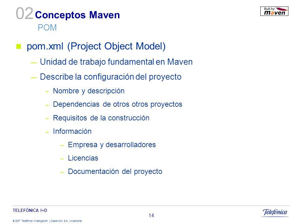 TELEFÓNICA I+D © 2007 Telefónica Investigación y Desarrollo, S.A. Unipersonal 14 Conceptos Maven POM pom.xml (Project Object Model) Unidad de trabajo