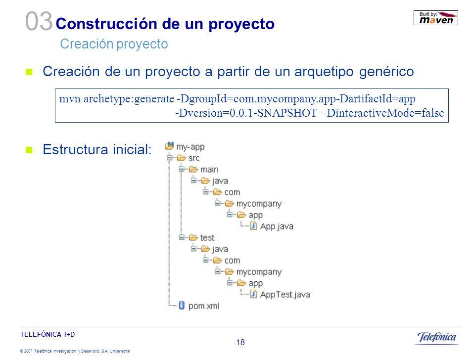 TELEFÓNICA I+D © 2007 Telefónica Investigación y Desarrollo, S.A. Unipersonal 18 Construcción de un proyecto Creación proyecto Creación de un proyecto