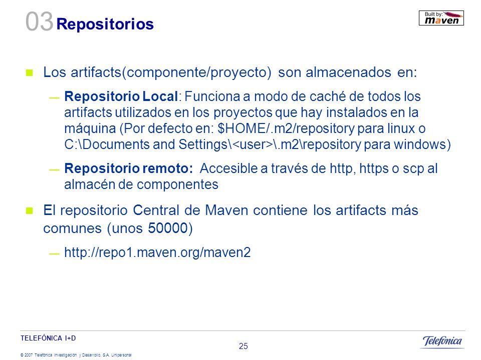 TELEFÓNICA I+D © 2007 Telefónica Investigación y Desarrollo, S.A. Unipersonal 25 Repositorios Los artifacts(componente/proyecto) son almacenados en: R
