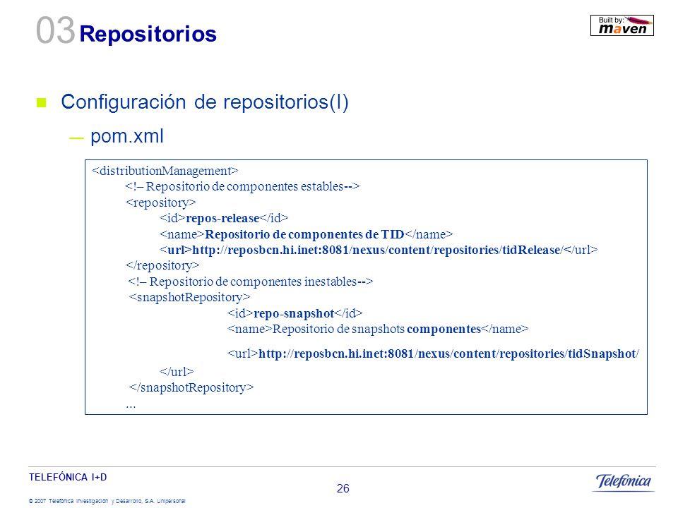 TELEFÓNICA I+D © 2007 Telefónica Investigación y Desarrollo, S.A. Unipersonal 26 Repositorios Configuración de repositorios(I) pom.xml repos-release R
