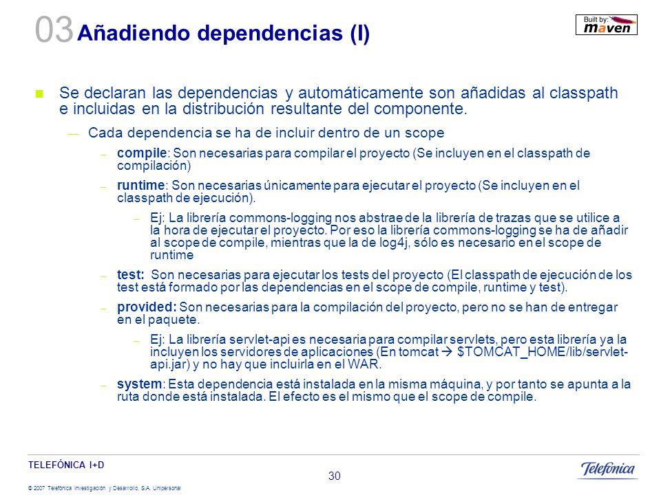 TELEFÓNICA I+D © 2007 Telefónica Investigación y Desarrollo, S.A. Unipersonal 30 Añadiendo dependencias (I) Se declaran las dependencias y automáticam