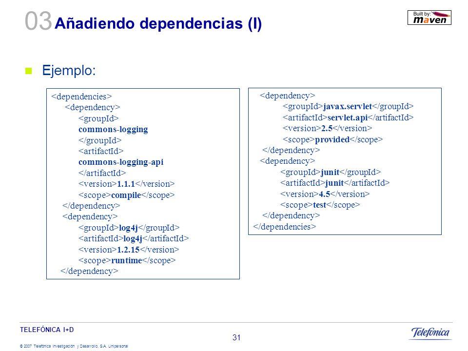 TELEFÓNICA I+D © 2007 Telefónica Investigación y Desarrollo, S.A. Unipersonal 31 Añadiendo dependencias (I) Ejemplo: commons-logging commons-logging-a
