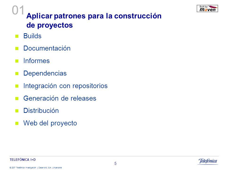 TELEFÓNICA I+D © 2007 Telefónica Investigación y Desarrollo, S.A. Unipersonal 5 Aplicar patrones para la construcción de proyectos Builds Documentació