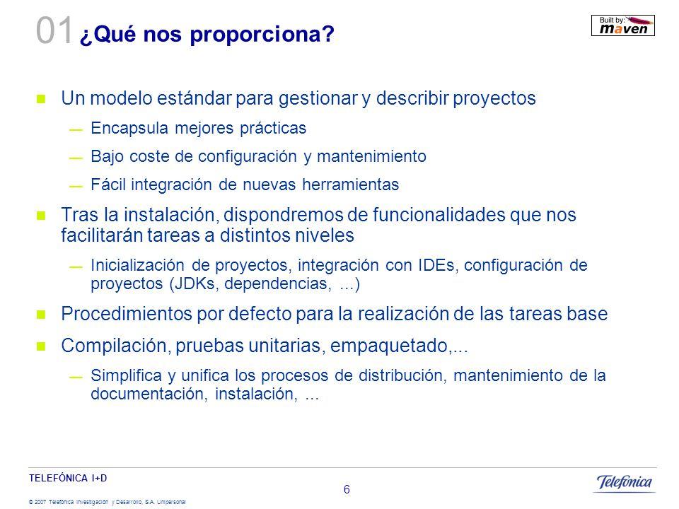 TELEFÓNICA I+D © 2007 Telefónica Investigación y Desarrollo, S.A. Unipersonal 6 ¿Qué nos proporciona? Un modelo estándar para gestionar y describir pr