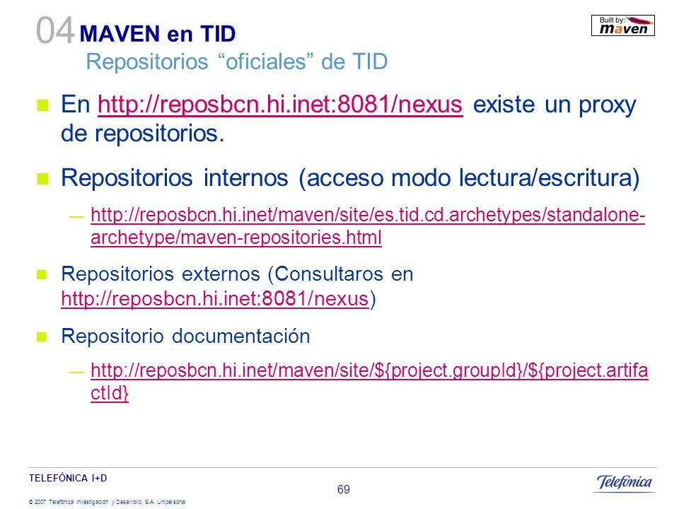 TELEFÓNICA I+D © 2007 Telefónica Investigación y Desarrollo, S.A. Unipersonal 69 MAVEN en TID Repositorios oficiales de TID En http://reposbcn.hi.inet