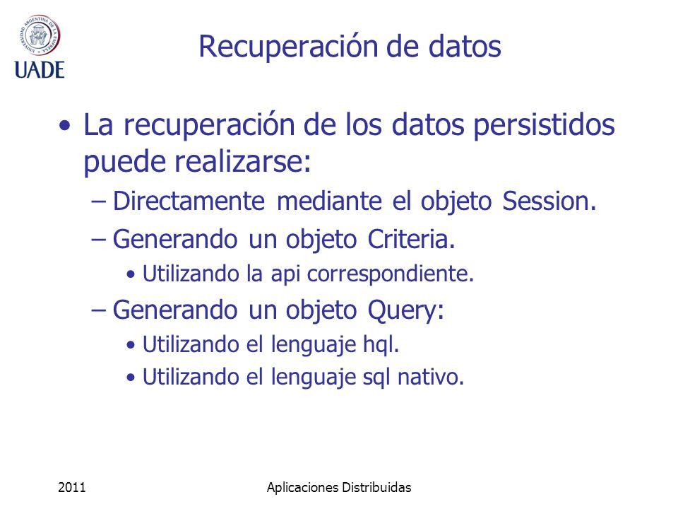 Recuperación de datos La recuperación de los datos persistidos puede realizarse: –Directamente mediante el objeto Session.