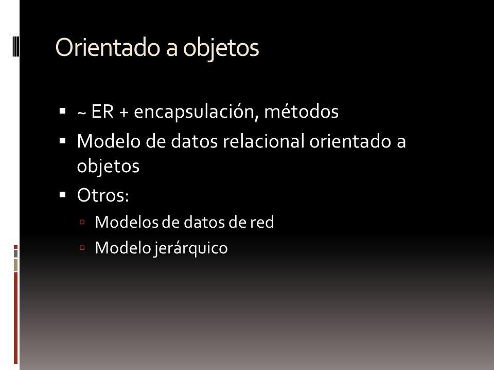 Orientado a objetos ~ ER + encapsulación, métodos Modelo de datos relacional orientado a objetos Otros: Modelos de datos de red Modelo jerárquico