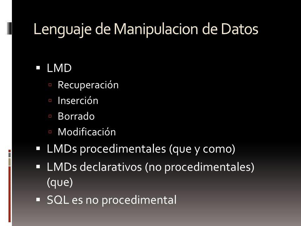 Lenguaje de Manipulacion de Datos LMD Recuperación Inserción Borrado Modificación LMDs procedimentales (que y como) LMDs declarativos (no procedimenta
