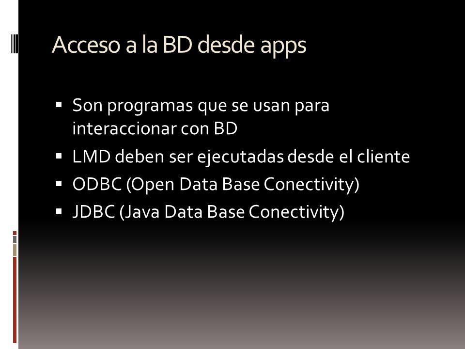 Acceso a la BD desde apps Son programas que se usan para interaccionar con BD LMD deben ser ejecutadas desde el cliente ODBC (Open Data Base Conectivi