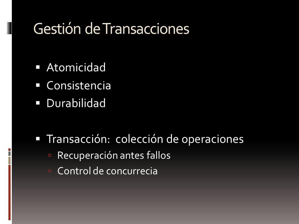 Gestión de Transacciones Atomicidad Consistencia Durabilidad Transacción: colección de operaciones Recuperación antes fallos Control de concurrecia