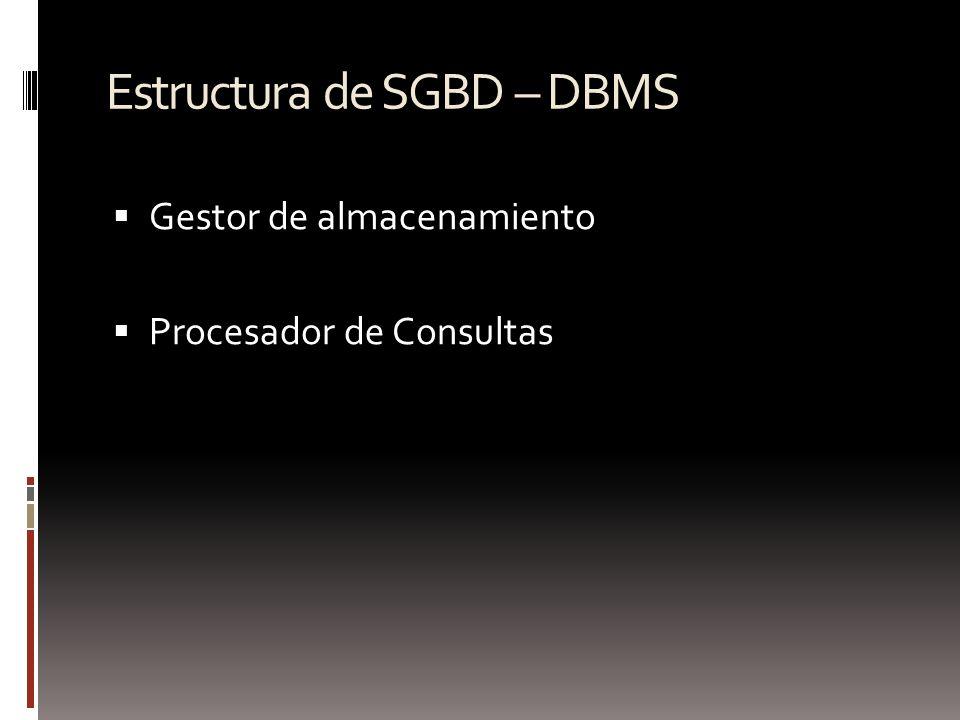 Estructura de SGBD – DBMS Gestor de almacenamiento Procesador de Consultas