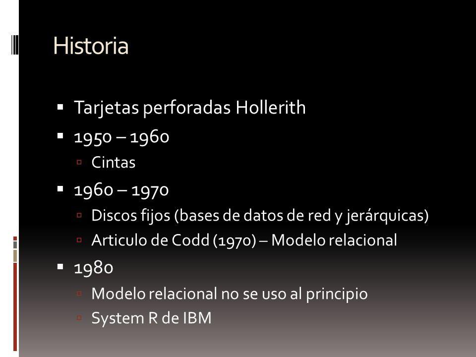 Historia Tarjetas perforadas Hollerith 1950 – 1960 Cintas 1960 – 1970 Discos fijos (bases de datos de red y jerárquicas) Articulo de Codd (1970) – Mod