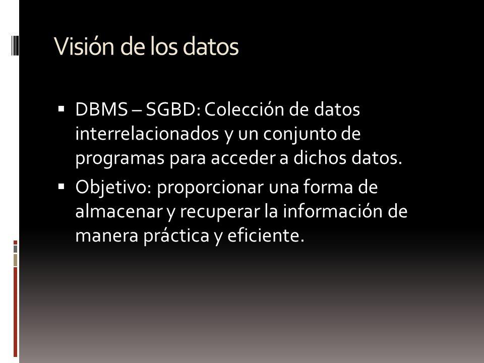 Visión de los datos DBMS – SGBD: Colección de datos interrelacionados y un conjunto de programas para acceder a dichos datos. Objetivo: proporcionar u
