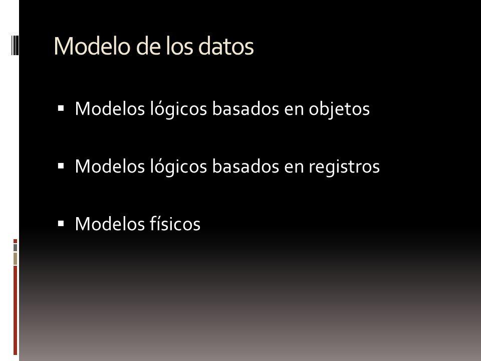 Modelo de los datos Modelos lógicos basados en objetos Modelos lógicos basados en registros Modelos físicos